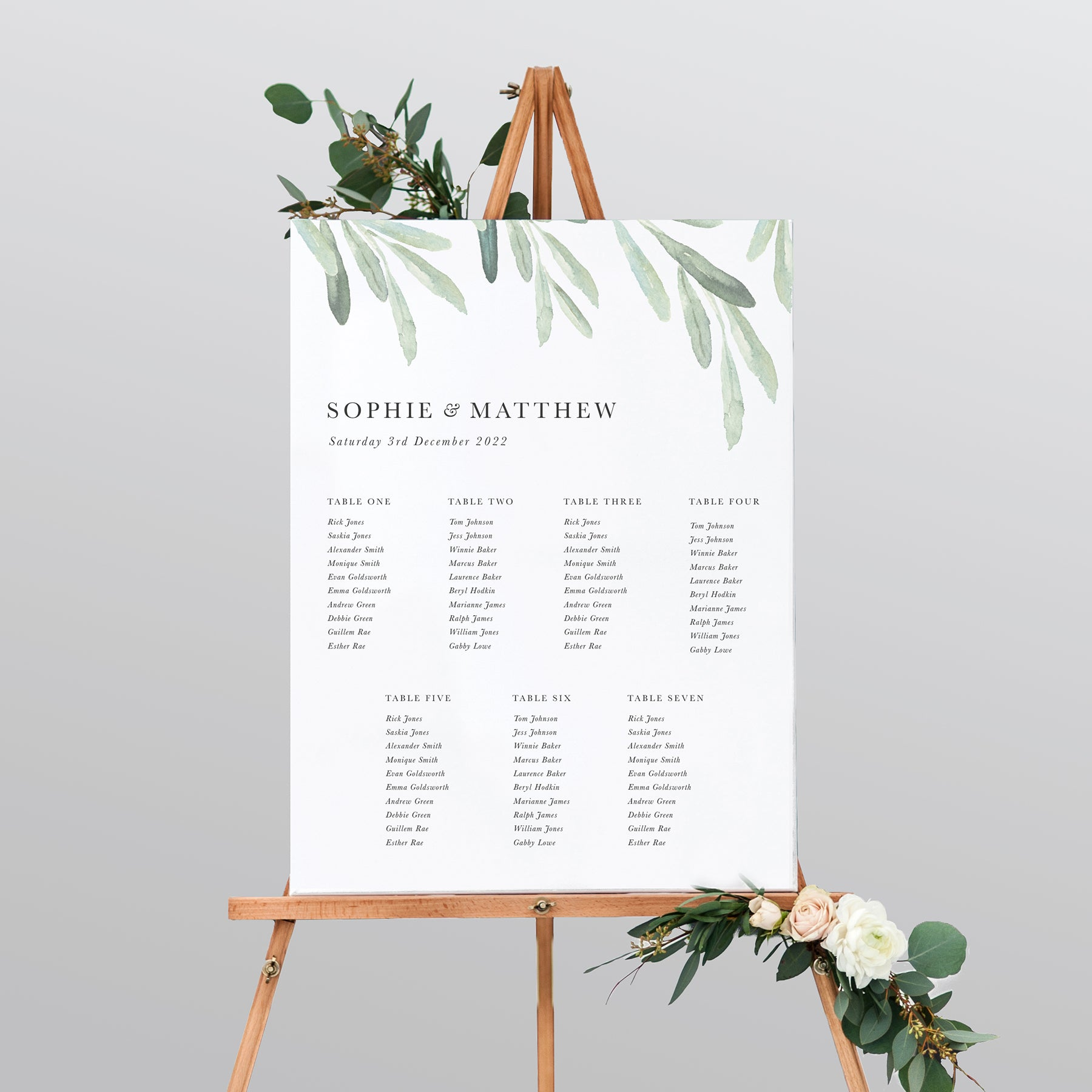 Olive Mounted Table Plan