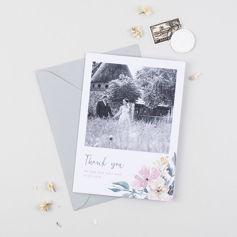 Floral Blush Wedding Photo Thank You Cards