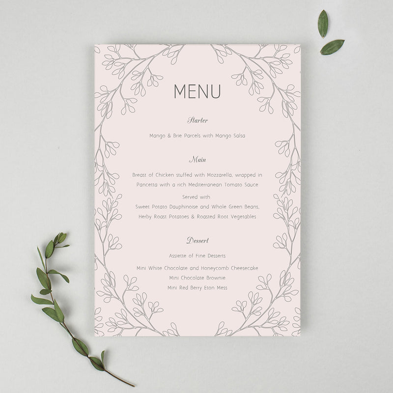Secret Garden A5 Table Menu