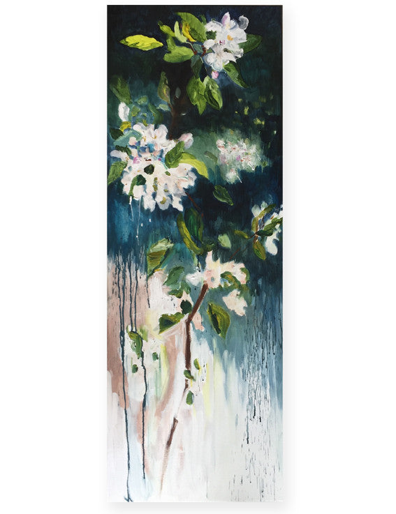 April-Sky-Blossoming-Lies-Goemans-40x110-cm-flower-painting-floral-flower-apple-blossom-bloemschilderij