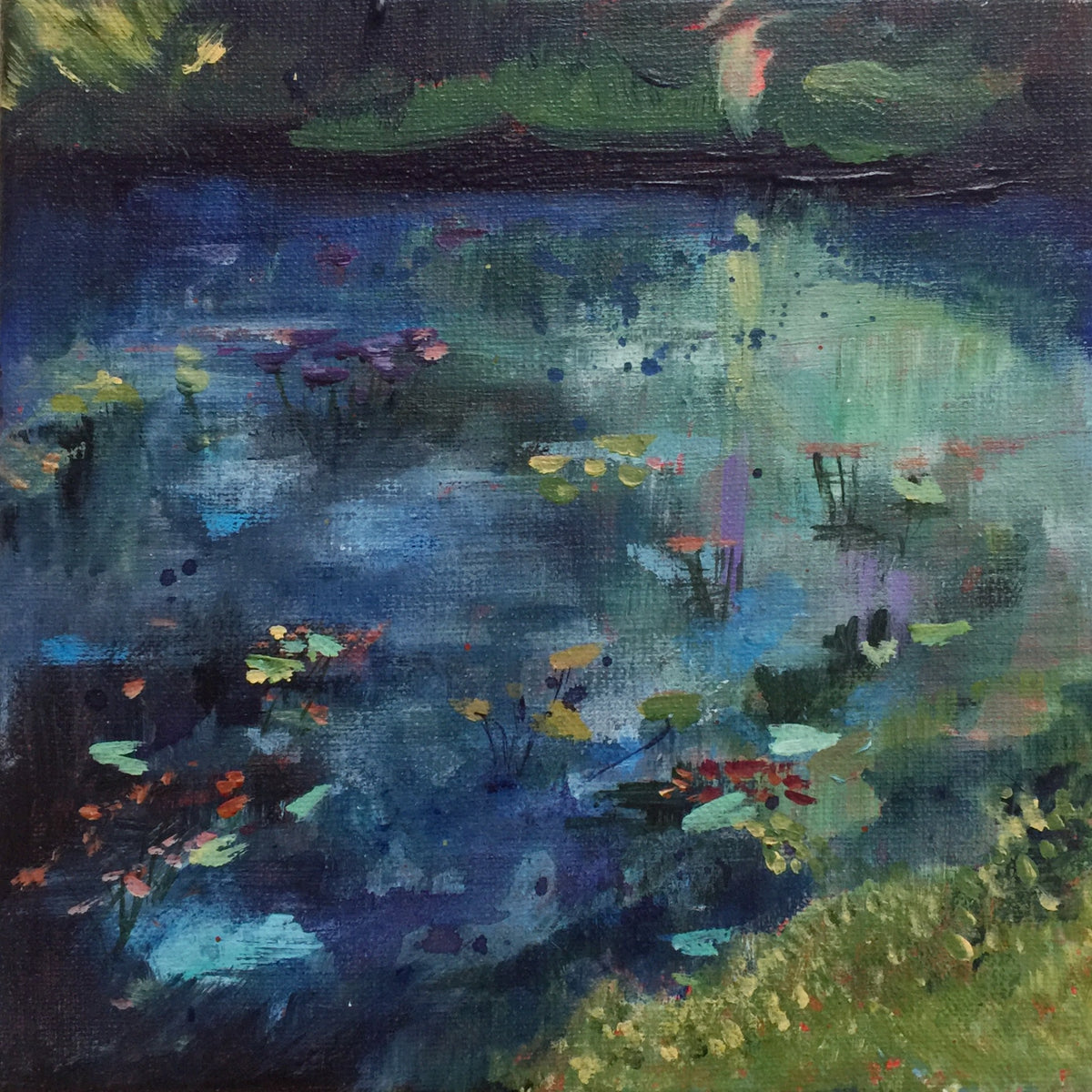 Clear Spots Of Turquoise-Lies Goemans-waterscape-painting 20x20cm