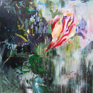 dark-nature-up-close-sultry-darkness-Lies-Goemans-painting-flower-schilderij-floral-100x100cm-basis-square