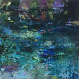 Dark Waters-Lies Goemans-waterscape-painting 20x20cm-3