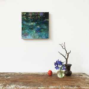 Dark Waters-Lies Goemans-waterscape-painting 20x20cm-interior