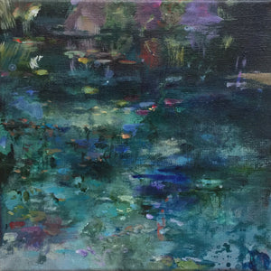 Dark Waters-Lies Goemans-waterscape-painting 20x20cm