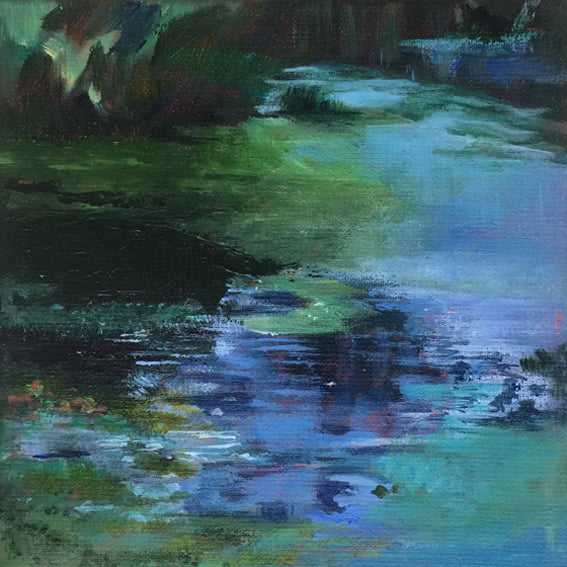 Duckweed Creek-Lies Goemans-waterscape-painting 20x20cm