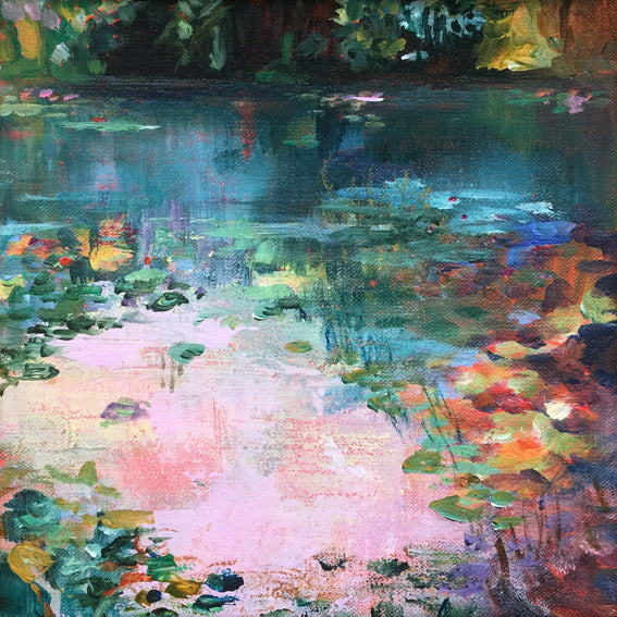 Flamingo-Bay-Lies-Goemans-waterscape-painting-20x20cm-basis