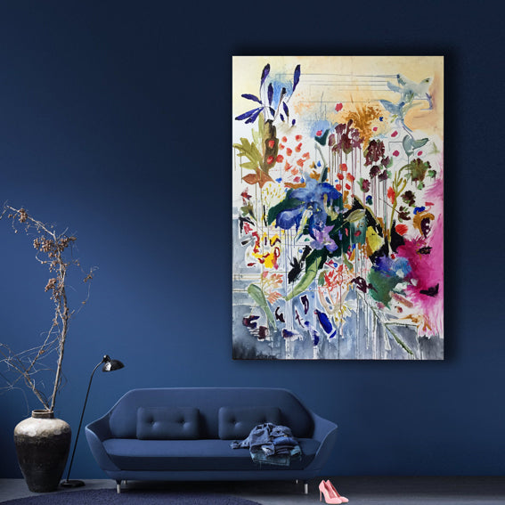 FloralPoetry-fun-of-being-colour-Lies-Goemans-painting-flower-schilderij-floral-150x100cm-interior-impression-blue