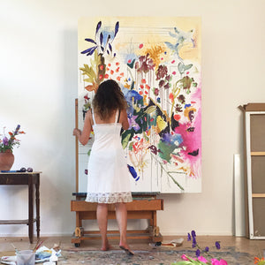 FloralPoetry-fun-of-being-colour-Lies-Goemans-painting-flower-schilderij-floral-150x100cm-making-of