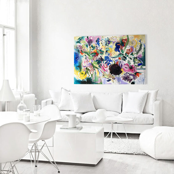 FloralPoetry-fun-of-being-colour-Lies-Goemans-painting-flower-schilderij-floral-150x100cm-interiorimpression-white