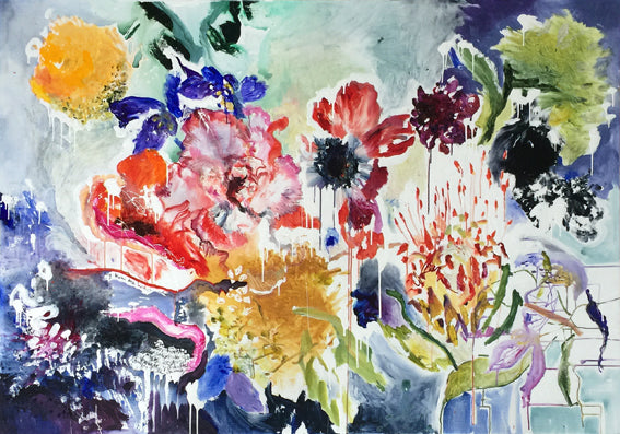 FloralPoetry-songs-from-the-heart-Lies-Goemans-painting-flower-schilderij-floral-140x200cm-basis