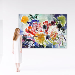 FloralPoetry-songs-from-the-heart-Lies-Goemans-painting-flower-schilderij-floral-140x200cm-interior-impression-1