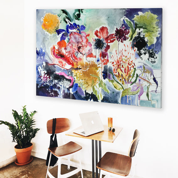FloralPoetry-songs-from-the-heart-Lies-Goemans-painting-flower-schilderij-floral-140x200cm-interior-impression-2