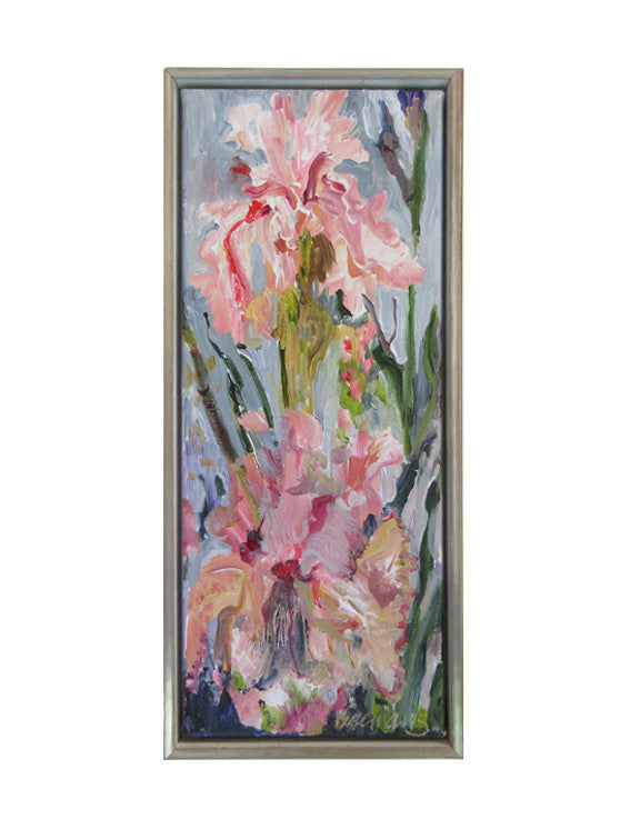 Botanical-Beauty-series-lush-and-wild-Lies-Goemans-20x50cm-flower-painting-floral-flower-iris-bloemschilderij-in-frame