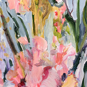 Botanical-Beauty-series-lush-and-wild-Lies-Goemans-20x50cm-flower-painting-floral-flower-iris-bloemschilderij-detail