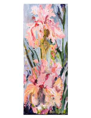 Botanical-Beauty-series-lush-and-wild-Lies-Goemans-20x50cm-flower-painting-floral-flower-iris-bloemschilderij