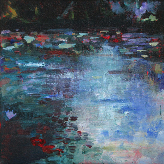 Red Water Lily Leaves-Lies Goemans-waterscape-painting 20x20cm