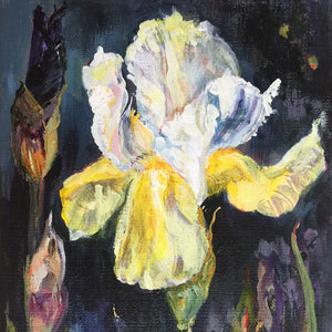 Botanical-Beauty-series-Soul-Survivor-Lies-Goemans-20x50cm-flower-painting-floral-flower-iris-bloemschilderij-detail