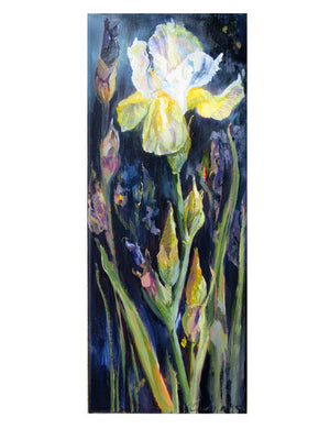 Botanical-Beauty-series-Soul-Survivor-Lies-Goemans-20x50cm-flower-painting-floral-flower-iris-bloemschilderij