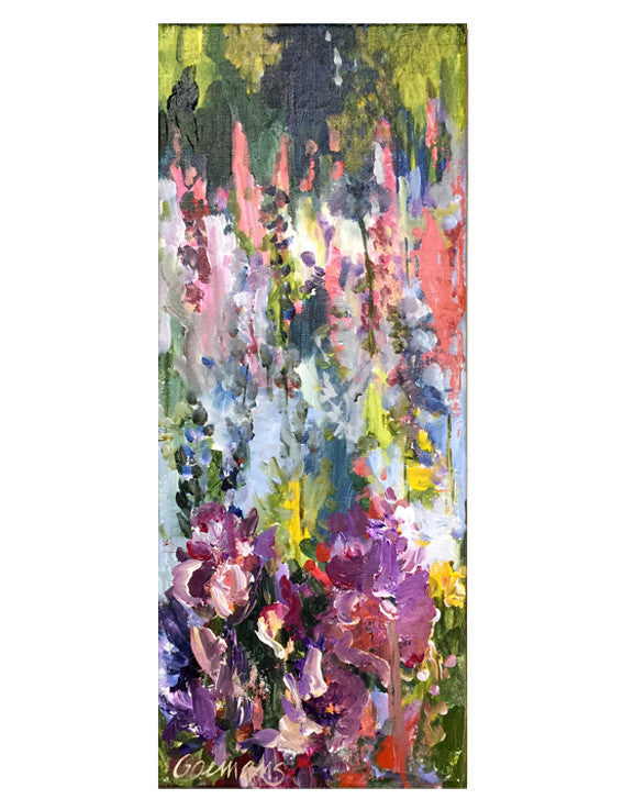 Botanical-Story-series-Summergarden-with-purple-irises-Lies-Goemans-20x50cm-flower-painting-floral-flower-iris-bloemschilderij