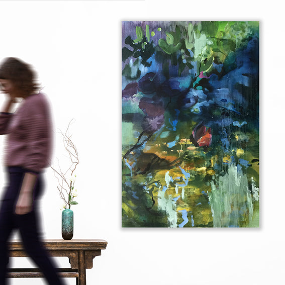Waterstories-monumental-Ojisan's-wishing-well-Lies-Goemans-waterscape-painting-100x150cm-interiorimpression