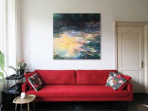series Waterstories-monumental-Stillness-Lies-Goemans-waterscape-painting-150x150cm-interior