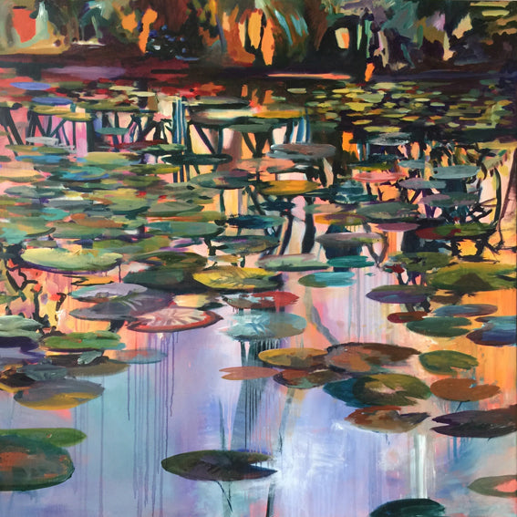Waterstories-monumental-Underlying-Serenity-Lies-Goemans-waterscape-painting-150x150cm-basis