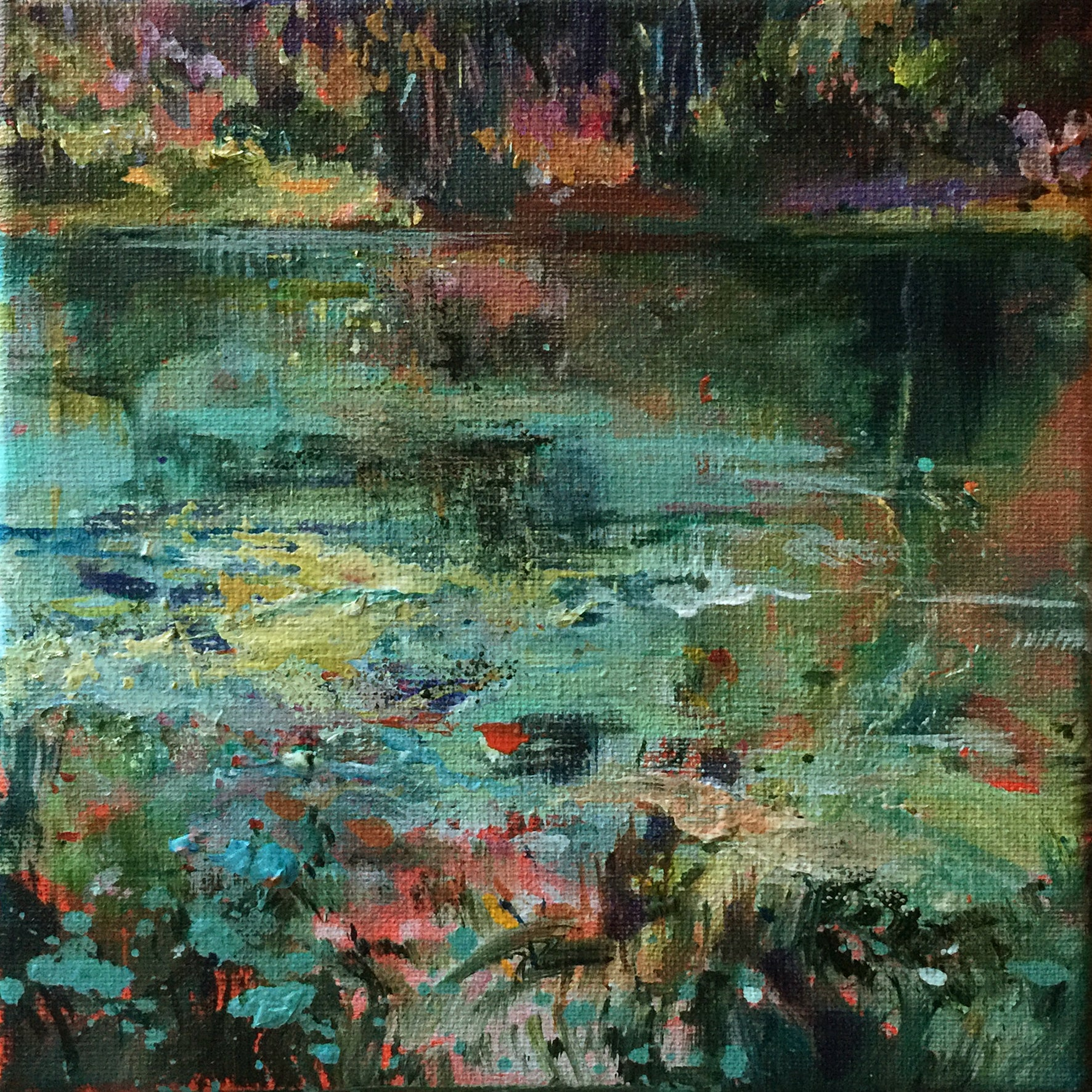 waterstories-whispers-autumnwater-5-Lies-Goemans-waterscape-paintings-20x20cm-basis