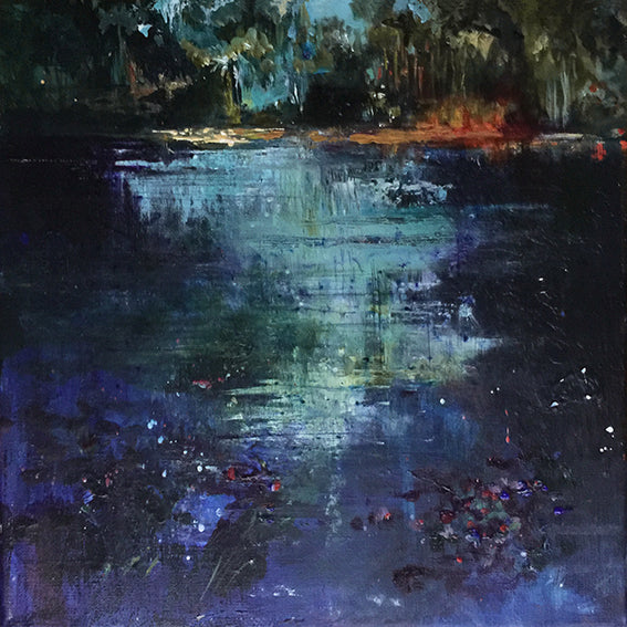 Waterstories-whispers-blue-light-evening-fall-Lies-Goemans-waterscape-painting-40x40cm-basis-square