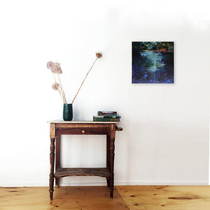 Waterstories-whispers-blue-light-evening-fall-Lies-Goemans-waterscape-painting-40x40cm-interior-impression-light