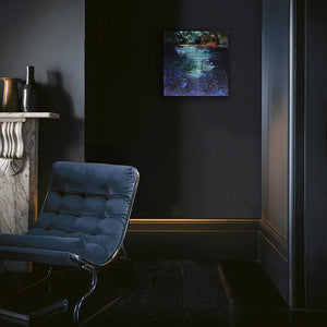 Waterstories-whispers-blue-light-evening-fall-Lies-Goemans-waterscape-painting-40x40cm-interior-impression-dark