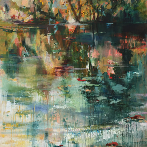 What-Lies-Beneath-16-Lies-Goemans-painting-water-schilderij-waterscape-100x100cm-basis