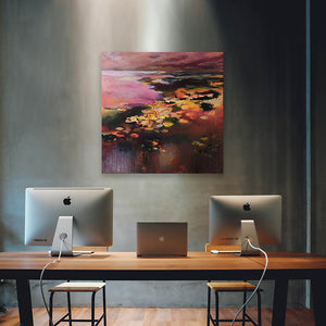 What-Lies-Beneath-32-Lies-Goemans-painting-water-schilderij-waterscape-100x100cm-interior-impression-dark-office-art