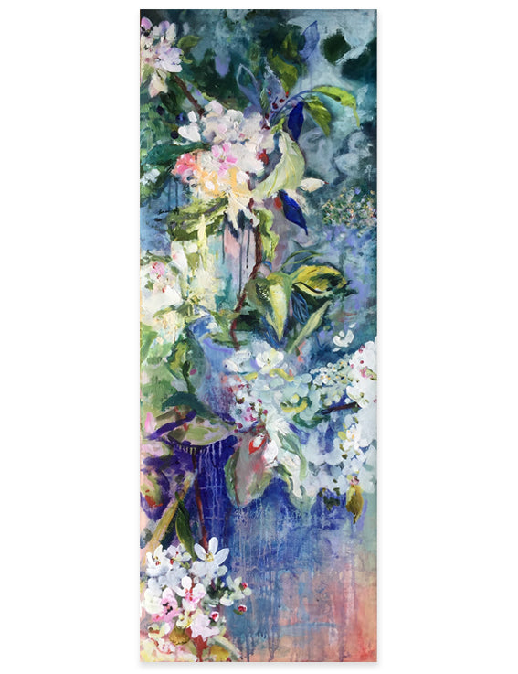 branch-up-blue-blossoms-Lies-Goemans-painting-flower-schilderij-floral-40x110cm-basis
