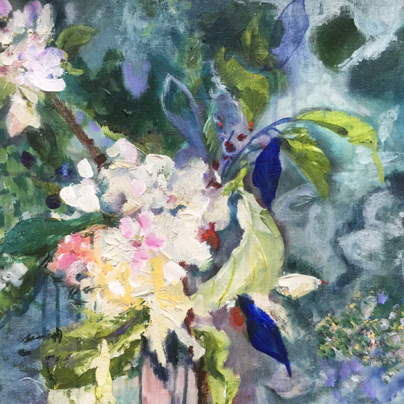 branch-up-blue-blossoms-Lies-Goemans-painting-flower-schilderij-floral-40x110cm-detail-1
