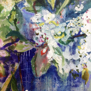 branch-up-blue-blossoms-Lies-Goemans-painting-flower-schilderij-floral-40x110cm-detail-2