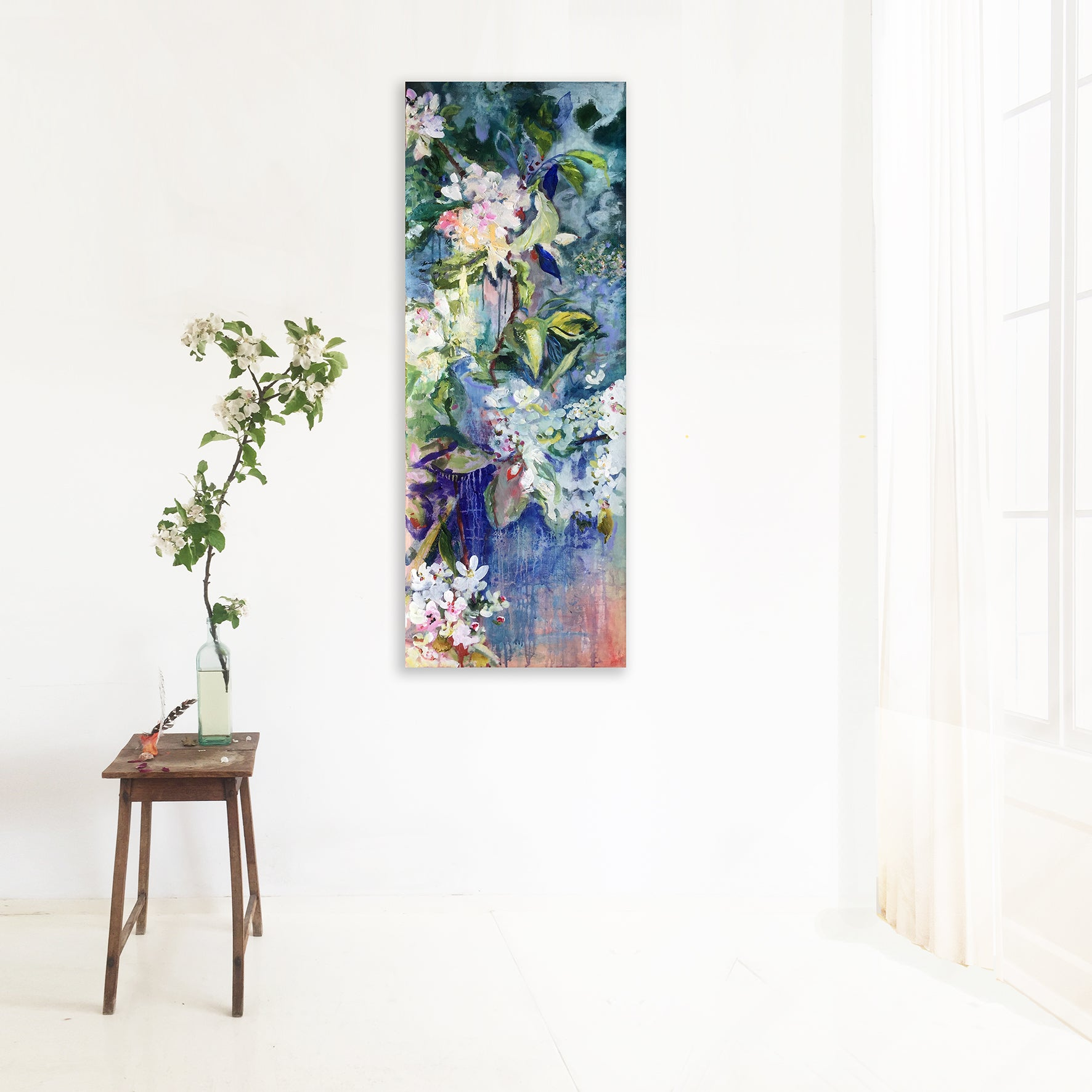 Interior with Blue Blossoms