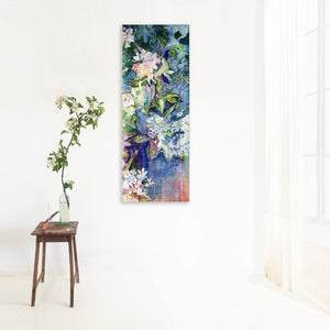 branch-up-blue-blossoms-Lies-Goemans-painting-flower-schilderij-floral-40x110cm-interior
