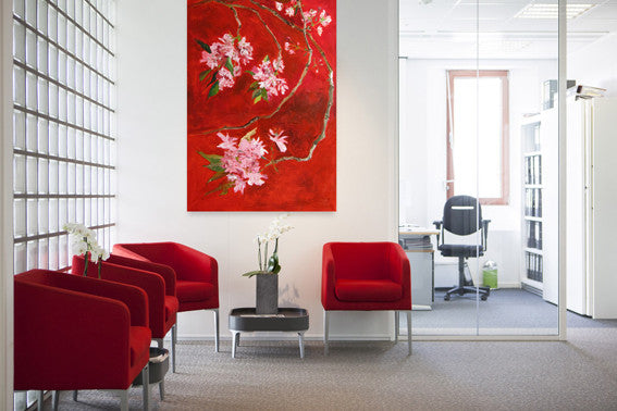 pink cherry blossom on red background, big interior painting by Lies Goemans 'Oriental Cherry'