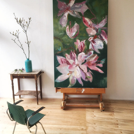 series-Early-Bloom-Soulangiana-X-Lies-Goemans-painting-floral-schilderij-120x200cm-in atelier