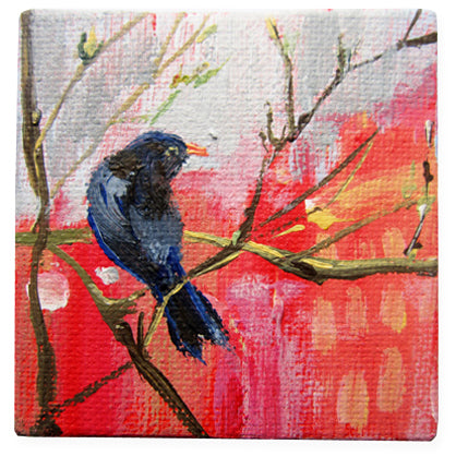 lies-goemans-miniature-painting-birds-blackbirdie-at-sunset