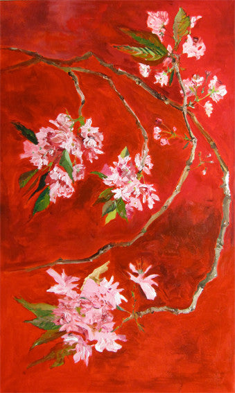 pink cherry blossom on red background, big interior painting by Lies Goemans 'Oriental Cherry' vertical view
