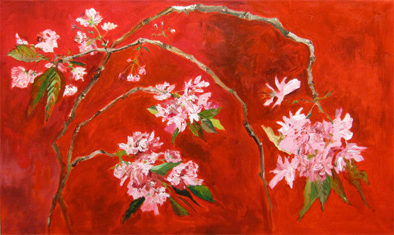 pink cherry blossom on red background, big interior painting by Lies Goemans 'Oriental Cherry' lies-goemans-paintings-oriental-cherry-200x120-floral-kersenbloesem schilderij rood