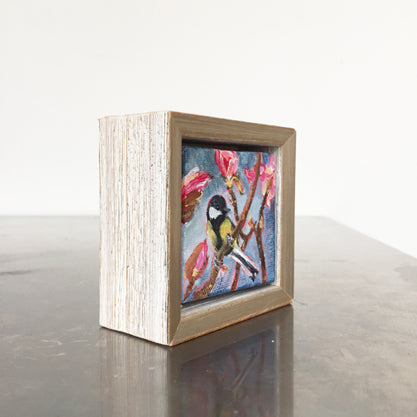 no.1084-lies-goemans-miniature-painting-TomTit-With-Magnolia's-in-frame-side