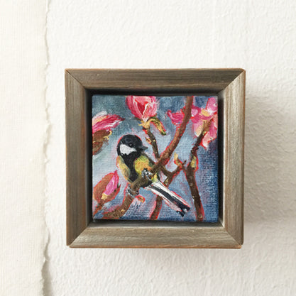 no.1084-lies-goemans-miniature-painting-TomTit-With-Magnolia's-in-frame