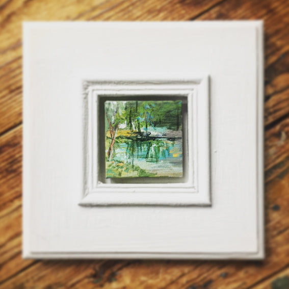 no.1104-lies-goemans-miniature-painting-mirroring-trees-in-frame