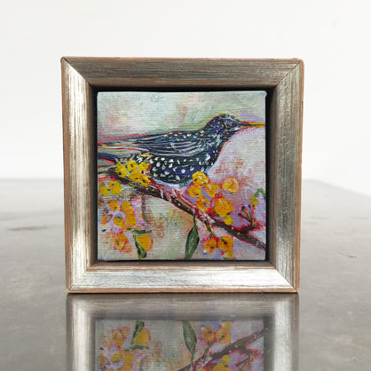 no.1108-lies-goemans-miniature-painting-yellow-berry-starling-in-frame