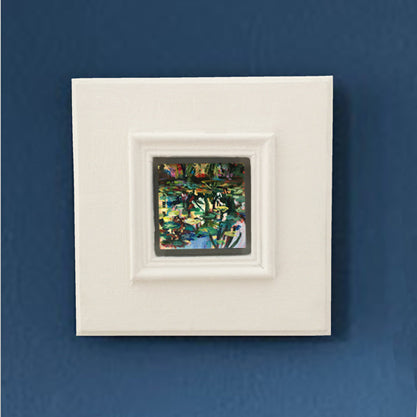 no.1109-lies-goemans-miniature-painting-water-mirror-big square-frame-on-blue