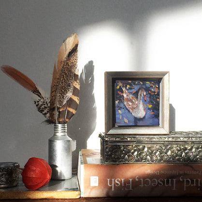 lies-goemans-miniature-painting-fledgling-swan-no.771-interior