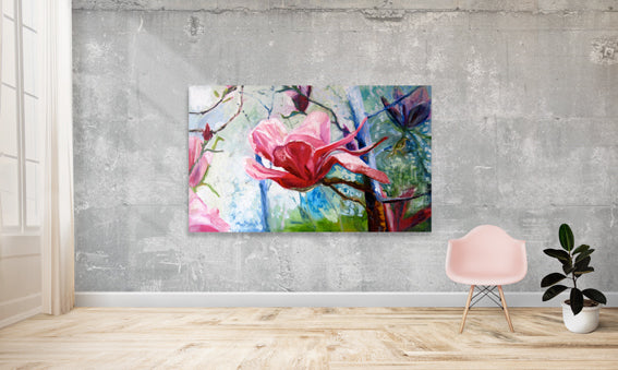 series-Early-Bloom-magnolia-like-a-lotus-Lies-Goemans-painting-floral-schilderij-200x120cm-interior-impression